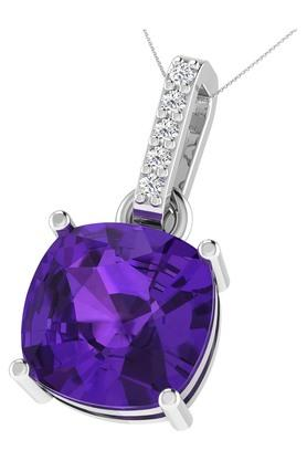 SILVER IMPRESSION Sparkles 18 Kt 0.03 Cts Diamond & 2.5 Cts Amethyst Pendant - P12548