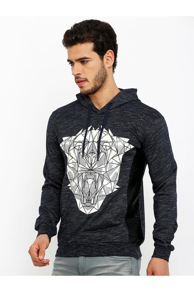 Mens Hooded Neck Printed Sweatshirt