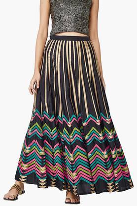 GLOBAL DESIWomens Chevron Print Festive Skirt