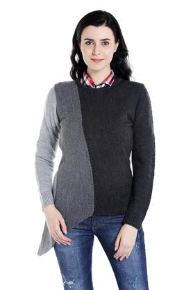 109F Womens Round Neck Knitted Pattern Sweater
