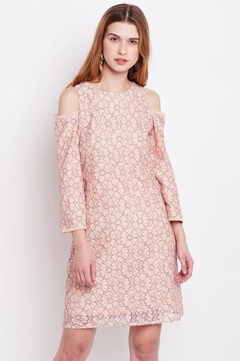 Womens Round Neck Knee Length Dress