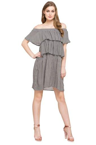 Womens Off Shoulder Check Knee Length Dress