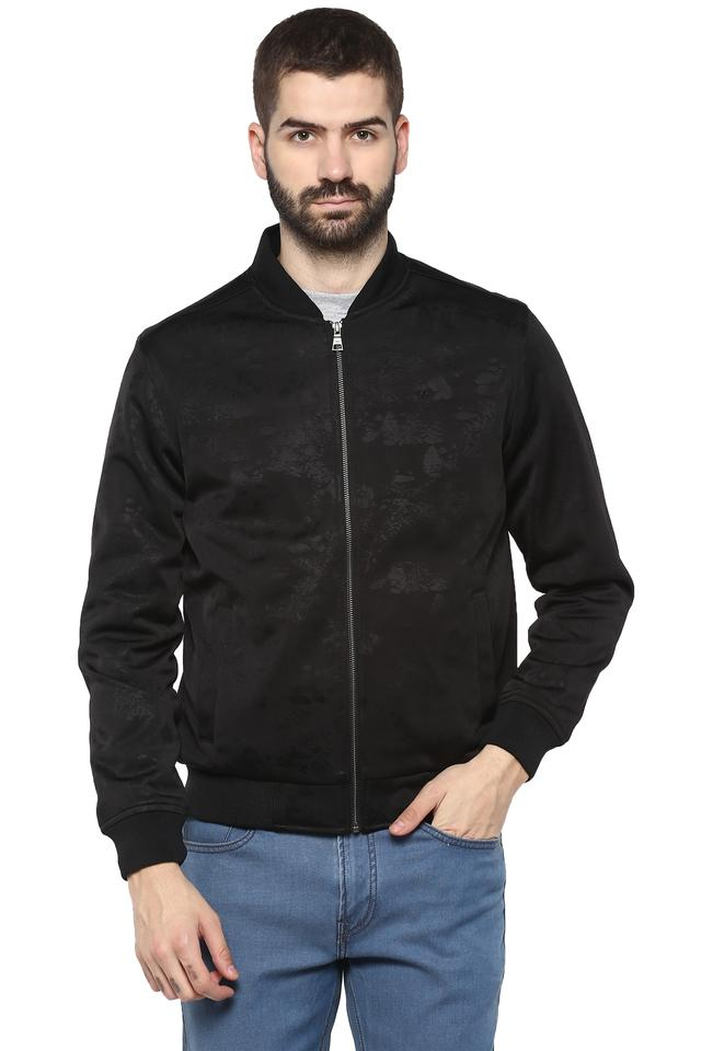Mens Mao Collar Self Printed Jacket