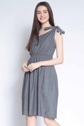 Womens Slub One Shoulder Dress