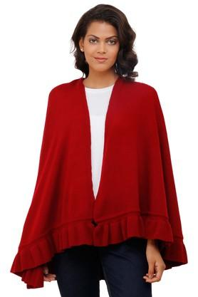 PLUCHI Womens Open Front Solid Poncho - 204702275_9607