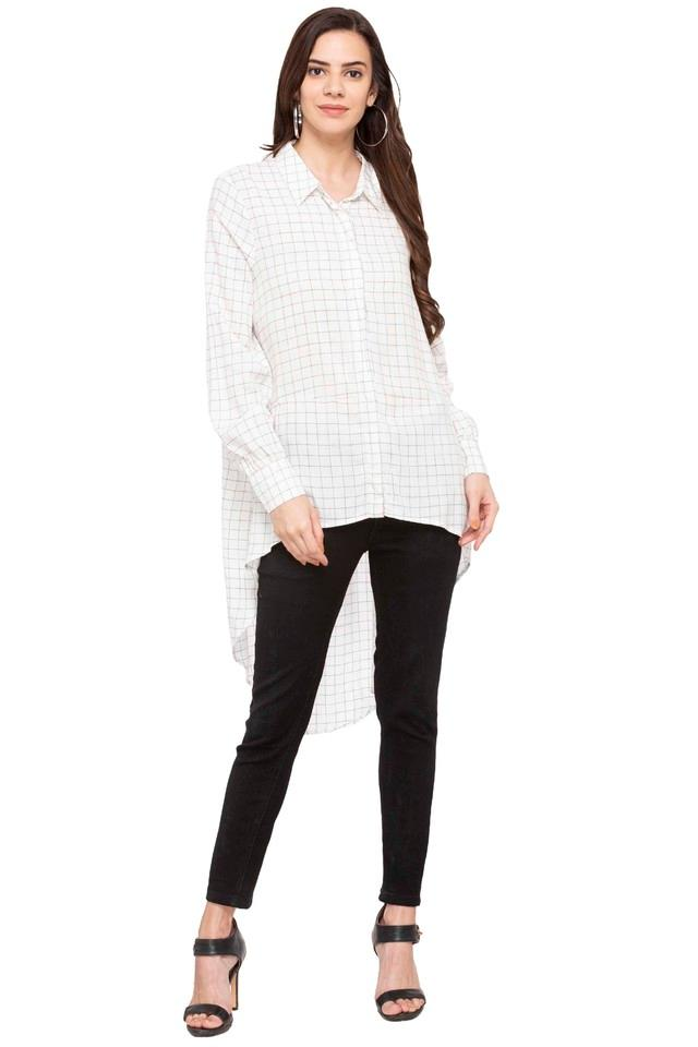 Womens Checked High Low Shirt
