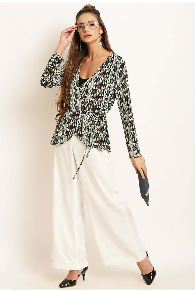 Womens Surplice Neck Printed Shrug