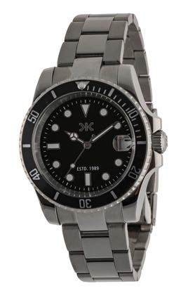 Mens Black Dial Stainless Steel Analogue Watch - KLM108E