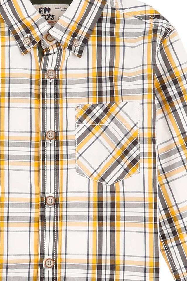 Boys Slim Fit Collared Check Shirt
