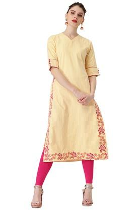 Womens Stripes Polyester Alne Kurta With Printed Border