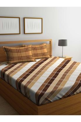 PORTICOStripe Double Fitted Bed Sheet With Pillow Cover