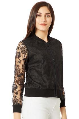 Womens Zip Through Neck Lace Bomber Jacket