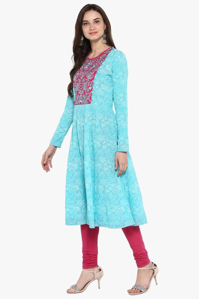 Womens Kalamkari Print A-Line Layered Kurta with Dori Tie-Up