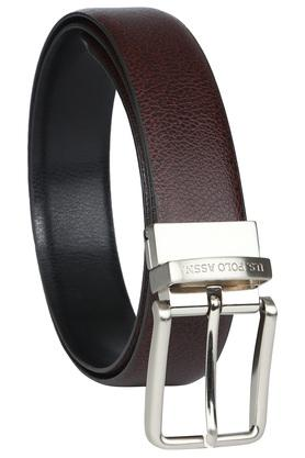 Mens Leather Buckle Closure Reversible Formal Belt