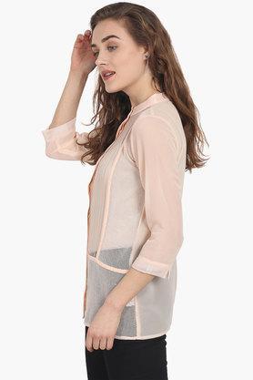 Womens Mandarin Neck Self-pattern Shirt
