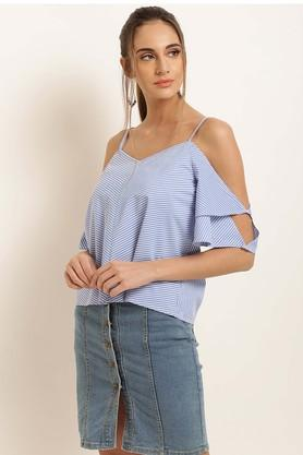 Womens Spaghetti Neck Stripe Top