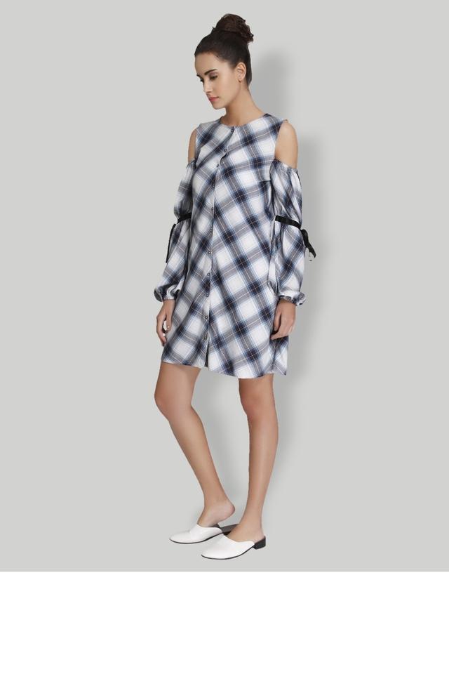 Womens Round Neck Check Shirt Dress