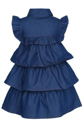 Girls Collared Solid Knee Length Dress