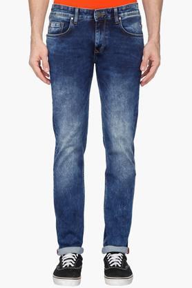 LOUIS PHILIPPE JEANSMens Slim Fit Stone Wash Jeans (Matt Fit)