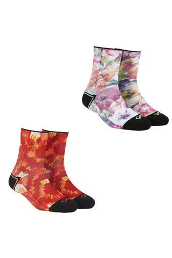 Unisex Printed and Floral Print Socks - Pack of 2