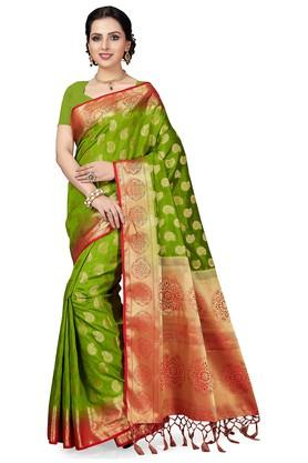 ISHINWomens Gold Woven Saree With Blouse Piece - 204668437_8059