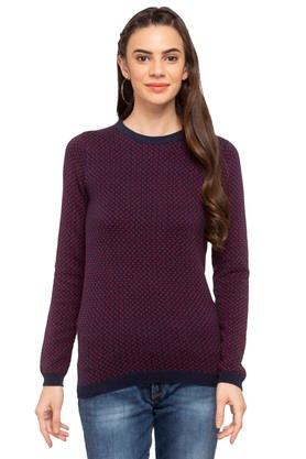 FRATINI WOMAN Womens Round Neck Printed Sweater