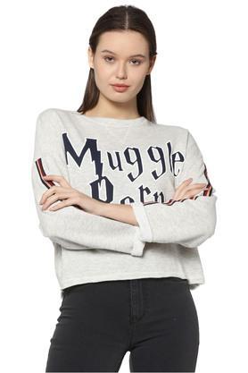 Womens Regular Fit Round Neck Printed Sweatshirt
