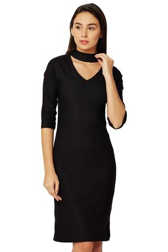 f6c62e1f8 Buy MISS CHASE Womens Band Neck Solid Bodycon Dress