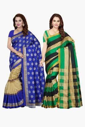 ISHIN Womens Bhagalpuri Art Silk Printed Saree - Set Of 2 - 203260386