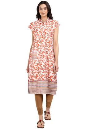 STOP Womens Collared Printed Kurta With Jacket