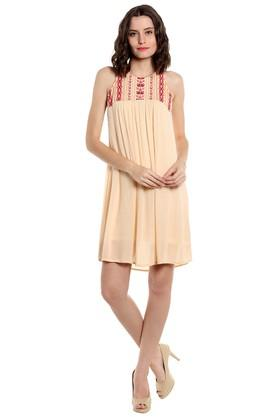 Womens Round Neck Embroidered Short Dress