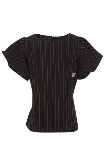 Girls Round Neck Stripe Top