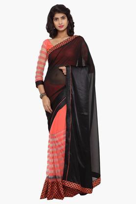 DEMARCAWomens Satin Embellished Saree