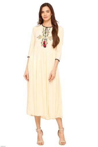 6419855edcea Buy HAUTE CURRY Womens Tie Up Neck Embroidered Calf Length Dress | Shoppers  Stop