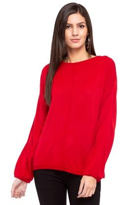 ELLE Womens Round Neck Knitted Sweater