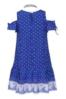Girls Round Neck Printed Drop Waist Dress