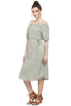 Womens Off Shoulder Stripe Shift Dress