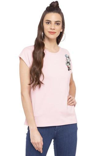 Womens Round Neck Embellished T-Shirt