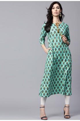 GERUAWomen Cotton Printed Aline Kurta With Both Side Pockets