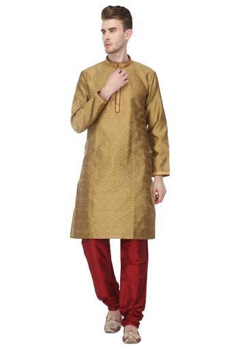 Mens Mandarin Collar Printed Kurta with Churidar Set