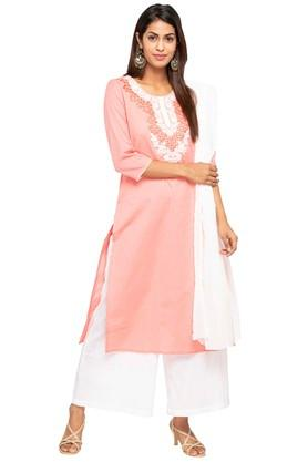 Womens Round Neck Embroidered Palazzo Suit