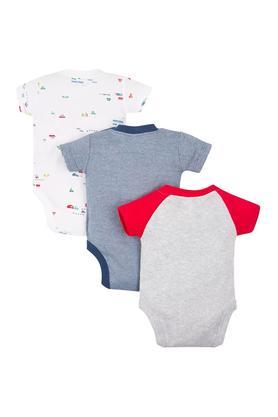 Kids Round Neck Printed and Slub Babysuits - Pack Of 3