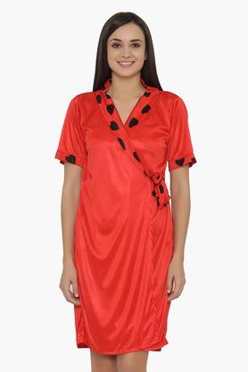 Womens Heart Print Short Night Dress & Robe