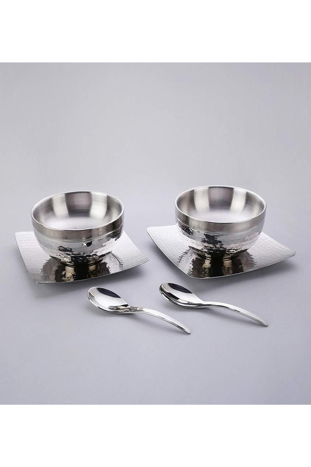 Round Stainless Steel Bowl and Spoon Set of 3