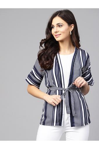 Womens Open Front Stripe Tie Up Shrug