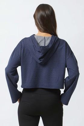 Womens Hooded Neck Dot Pattern Sweatshirt