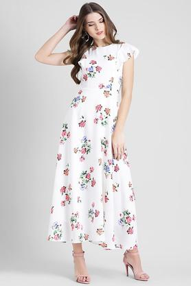 a354388c5e X ZINK LONDON Womens Round Neck Printed Maxi Dress