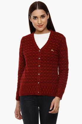 MONTE CARLO Womens V-Neck Knitted Pattern Cardigan - 204635134_9612