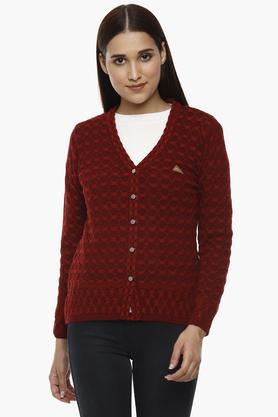 MONTE CARLOWomens V-Neck Knitted Pattern Cardigan - 204635134_9612
