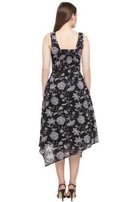 Womens V Neck Floral Print Asymmetrical Dress